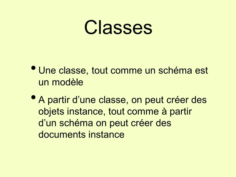 Une classe, tout comme un schéma est un modèle A partir d'une classe, on peut créer des objets instance, tout comme à partir d'un schéma on peut créer des documents instance Classes