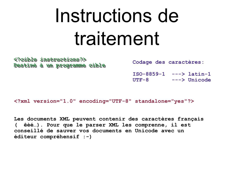 Instructions de traitement Destiné à un programme cible Destiné à un programme cible Les documents XML peuvent contenir des caractères français ( êèé…