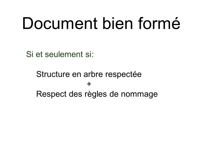 Document bien formé Si et seulement si: Structure en arbre respectée + Respect des règles de nommage