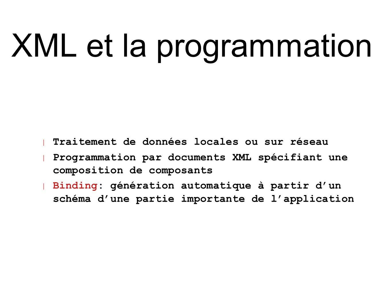 XML et la programmation | Traitement de données locales ou sur réseau | Programmation par documents XML spécifiant une composition de composants | Bin