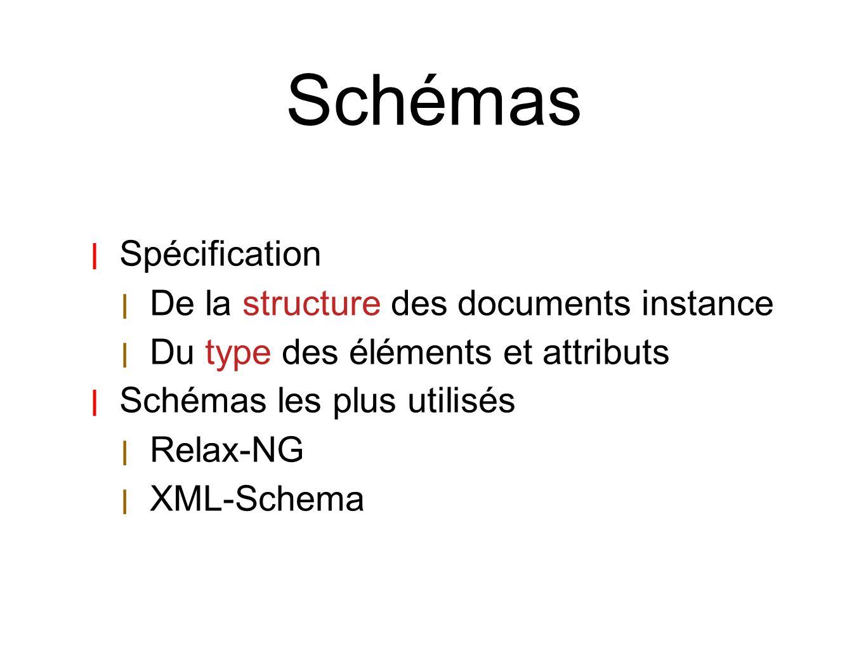 Schémas | Spécification | De la structure des documents instance | Du type des éléments et attributs | Schémas les plus utilisés | Relax-NG | XML-Sche