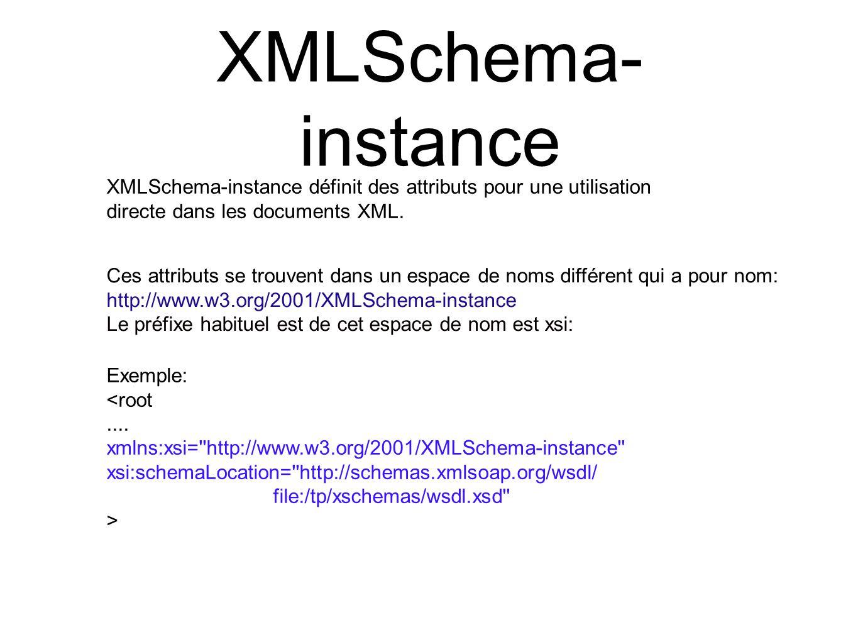 XMLSchema- instance XMLSchema-instance définit des attributs pour une utilisation directe dans les documents XML. Ces attributs se trouvent dans un es