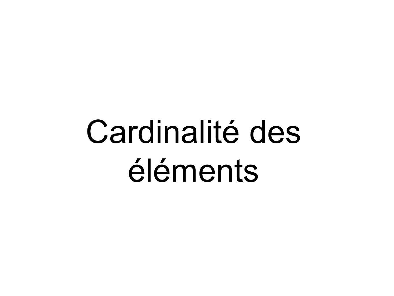 Cardinalité des éléments