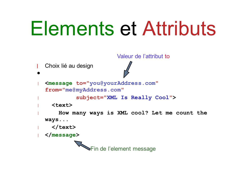 Elements et Attributs | Choix lié au design | <message to=