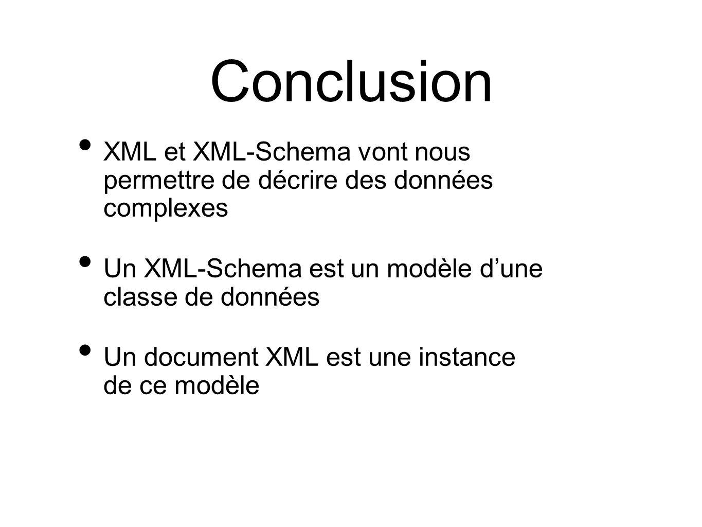 Conclusion XML et XML-Schema vont nous permettre de décrire des données complexes Un XML-Schema est un modèle d'une classe de données Un document XML