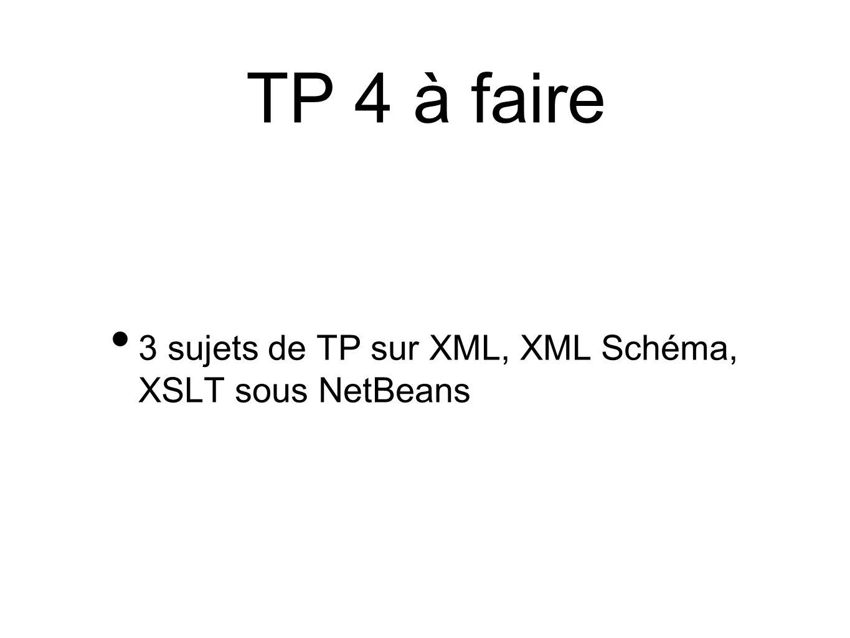 TP 4 à faire 3 sujets de TP sur XML, XML Schéma, XSLT sous NetBeans