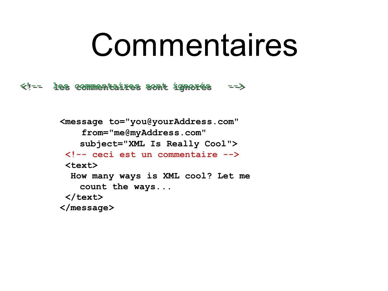 Langage temperature   Exemple de document instance <temperature xmlns= http://schemas/temperature xmlns:xsi= http://www.w3.org/2001/XMLSchema-instance xsi:schemaLocation= http://schemas/temperature temperature.xsd > -4.1 12.7 -6.0 8.0 Référence au schéma utilisé
