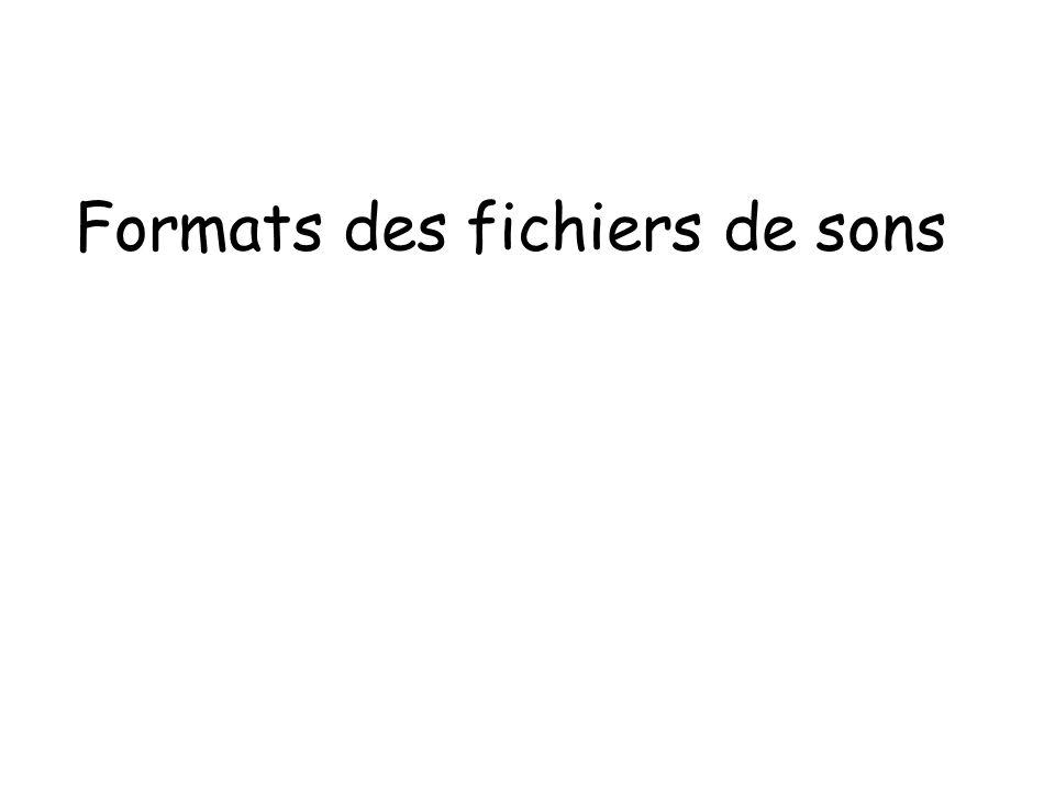 Formats des fichiers de sons