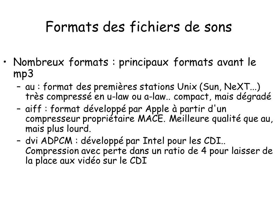 Nombreux formats : principaux formats avant le mp3 –au : format des premières stations Unix (Sun, NeXT...) très compressé en u-law ou a-law.. compact,