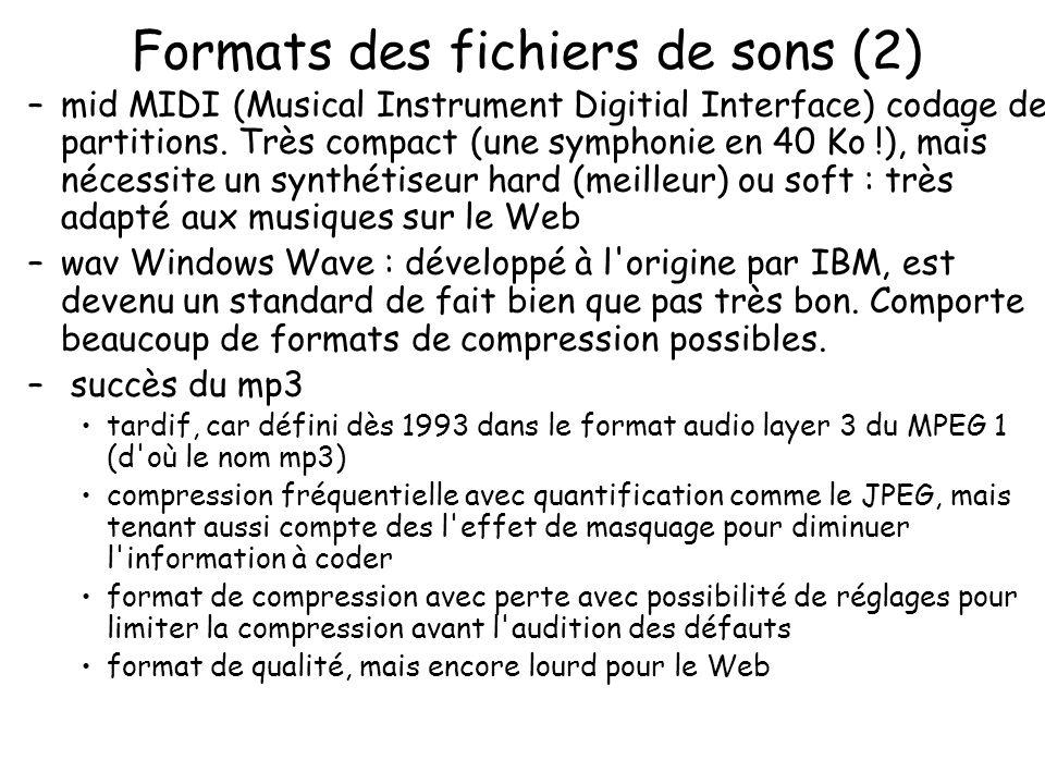 Formats des fichiers de sons (2) –mid MIDI (Musical Instrument Digitial Interface) codage des partitions. Très compact (une symphonie en 40 Ko !), mai
