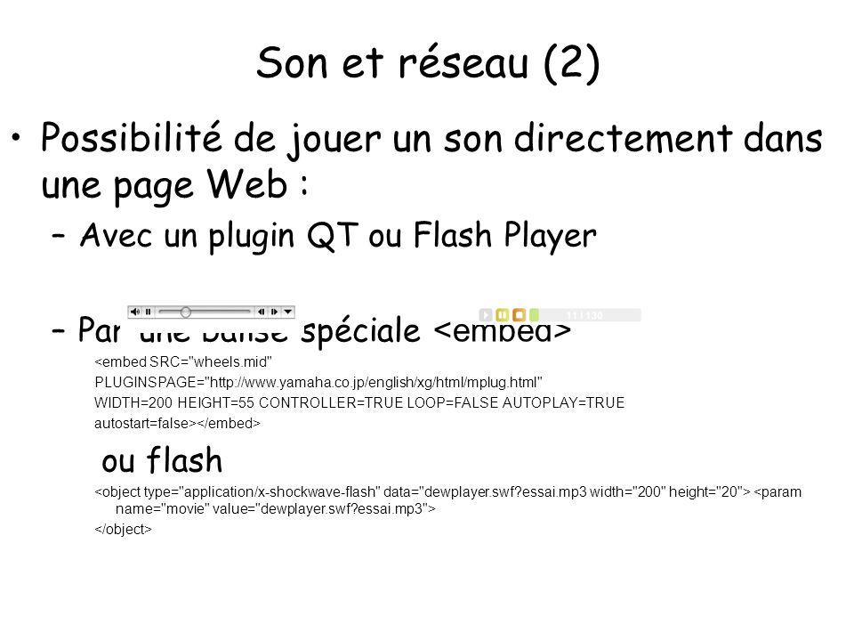 Son et réseau (2) Possibilité de jouer un son directement dans une page Web : –Avec un plugin QT ou Flash Player –Par une balise spéciale <embed SRC=