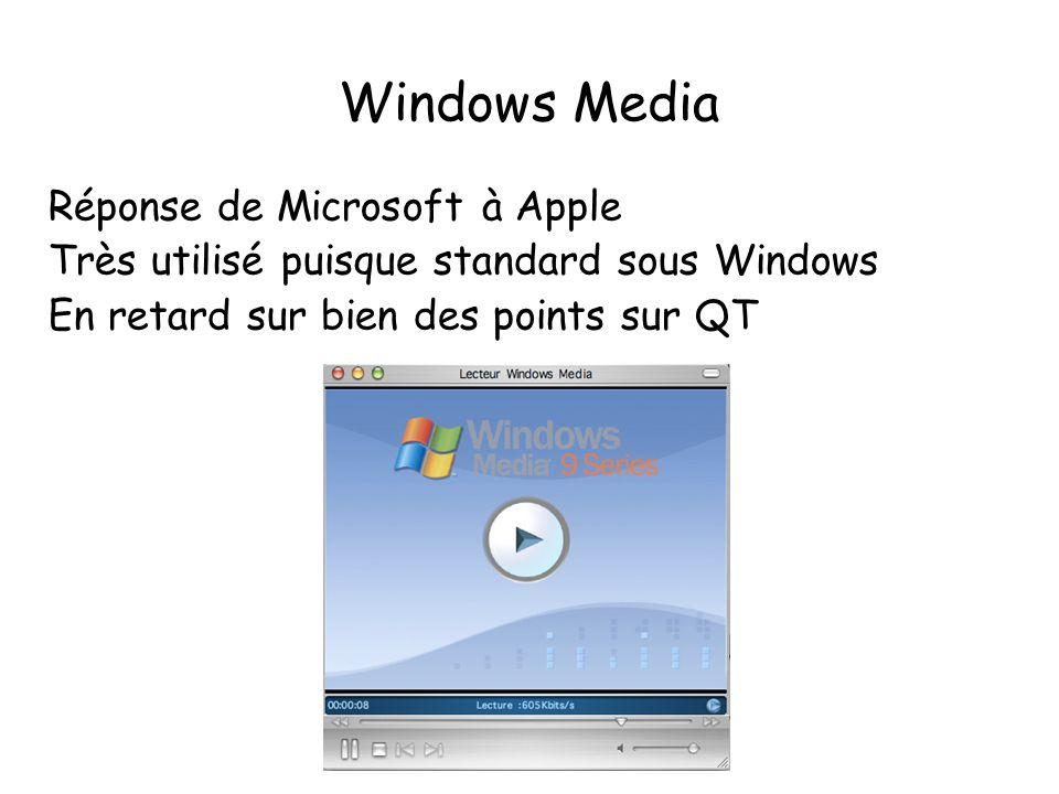 Windows Media Réponse de Microsoft à Apple Très utilisé puisque standard sous Windows En retard sur bien des points sur QT