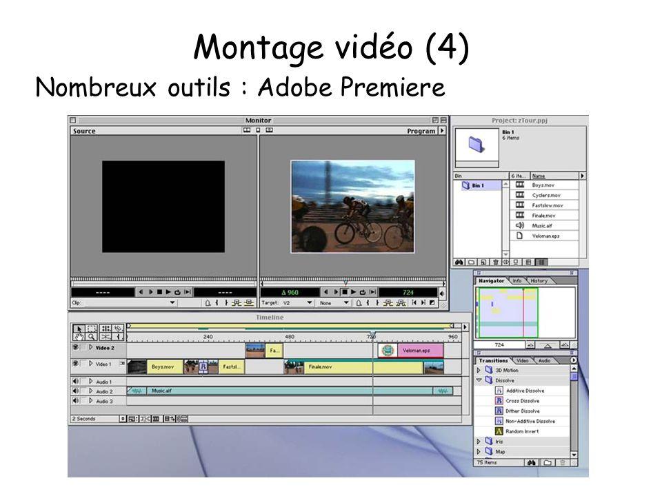 Montage vidéo (4) Nombreux outils : Adobe Premiere