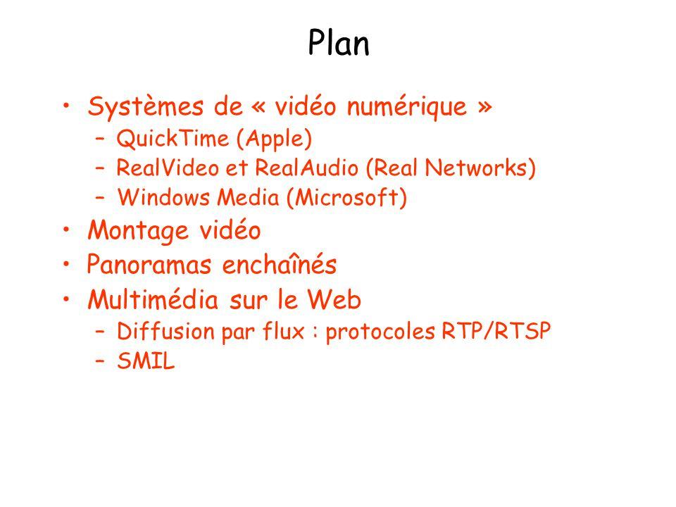 Plan Systèmes de « vidéo numérique » –QuickTime (Apple) –RealVideo et RealAudio (Real Networks) –Windows Media (Microsoft) Montage vidéo Panoramas enchaînés Multimédia sur le Web –Diffusion par flux : protocoles RTP/RTSP –SMIL