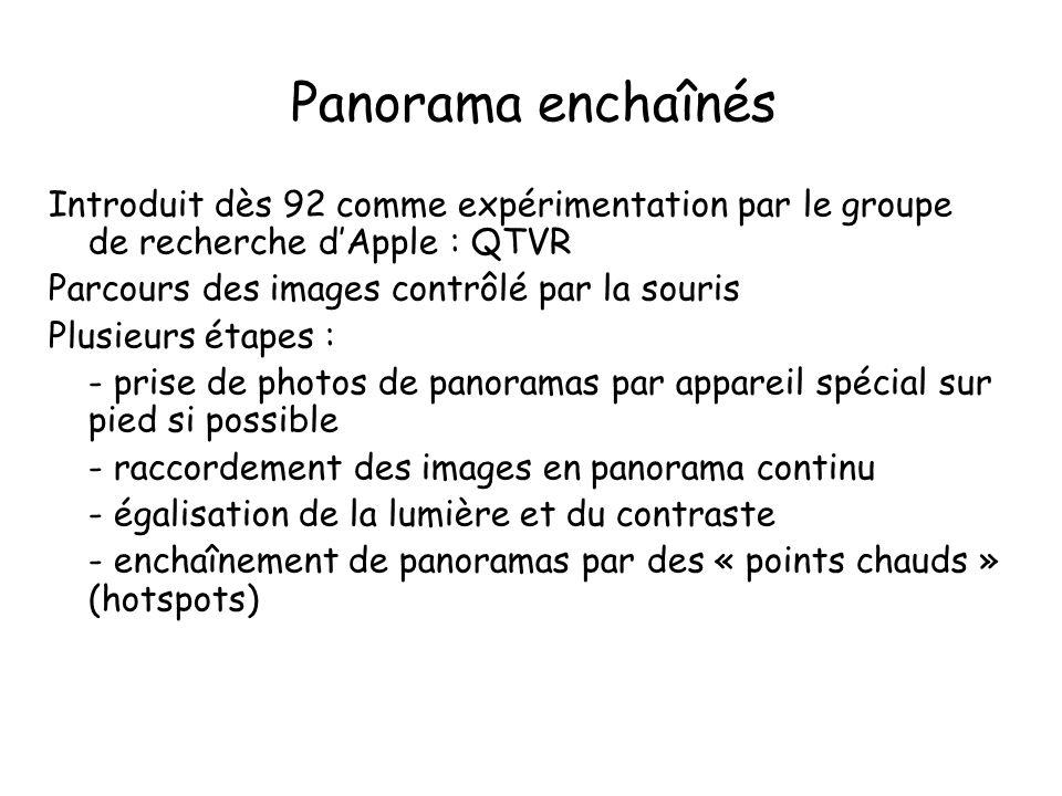 Introduit dès 92 comme expérimentation par le groupe de recherche d'Apple : QTVR Parcours des images contrôlé par la souris Plusieurs étapes : - prise de photos de panoramas par appareil spécial sur pied si possible - raccordement des images en panorama continu - égalisation de la lumière et du contraste - enchaînement de panoramas par des « points chauds » (hotspots)