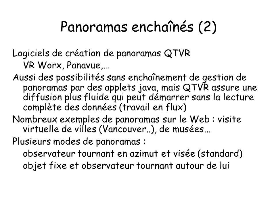Panoramas enchaînés (2) Logiciels de création de panoramas QTVR VR Worx, Panavue,… Aussi des possibilités sans enchaînement de gestion de panoramas par des applets java, mais QTVR assure une diffusion plus fluide qui peut démarrer sans la lecture complète des données (travail en flux) Nombreux exemples de panoramas sur le Web : visite virtuelle de villes (Vancouver..), de musées...