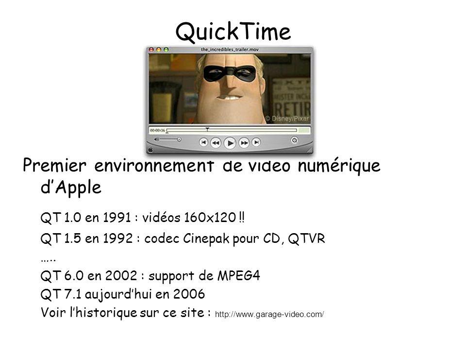 QuickTime (2) Développé en parallèle pour Windows et MacOS (des versions ont aussi été installées sous d'autres systèmes Unix comme IRIX de SGI, aussi des players sous Linux) Architecture en couches logicielles intégrées au système d'exploitation Environnement ouvert permettant d'accueillir tous les codec (codeurs/décodeurs) installés dans le système Découpage en pistes vidéo, audio, texte, animation(sprite), ….