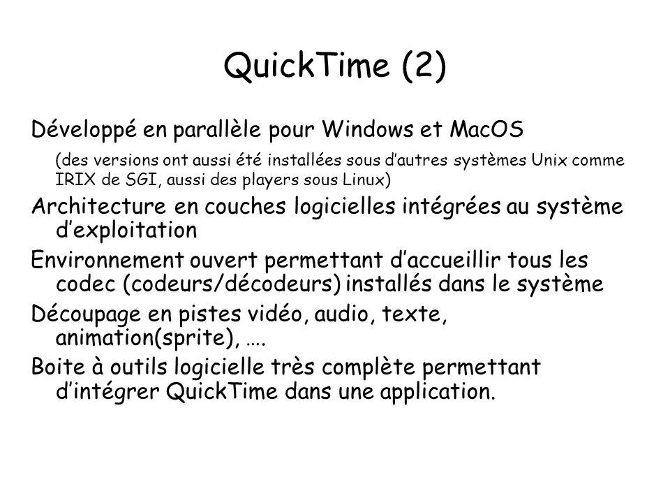 QuickTime (2) Développé en parallèle pour Windows et MacOS (des versions ont aussi été installées sous d'autres systèmes Unix comme IRIX de SGI, aussi