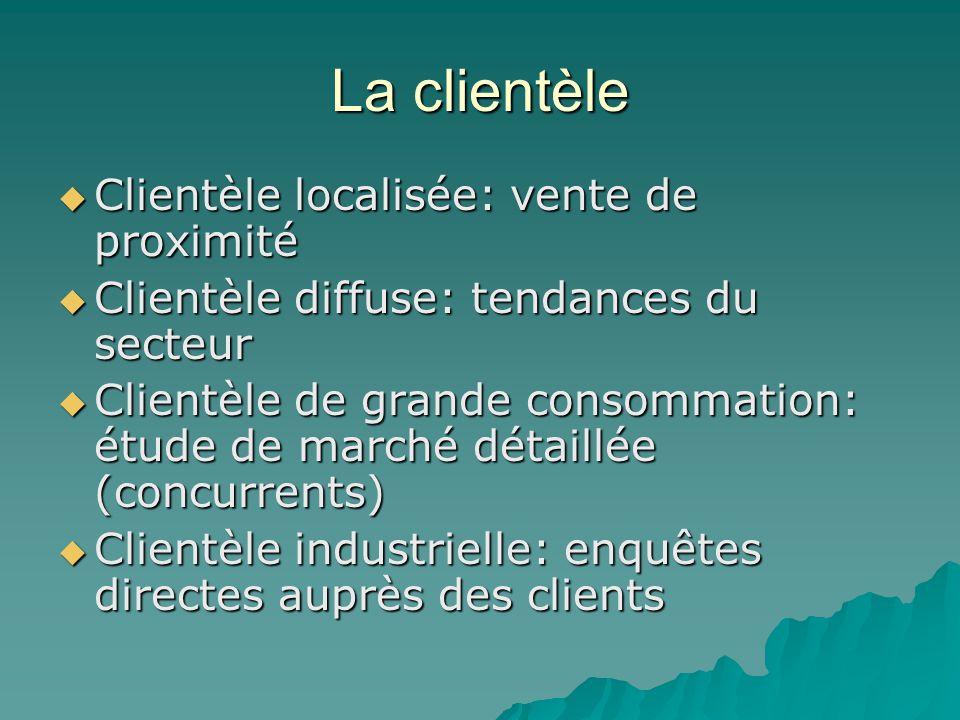 La clientèle  Clientèle localisée: vente de proximité  Clientèle diffuse: tendances du secteur  Clientèle de grande consommation: étude de marché d