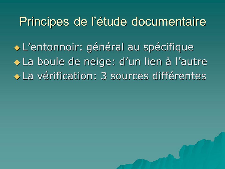 Principes de l'étude documentaire  L'entonnoir: général au spécifique  La boule de neige: d'un lien à l'autre  La vérification: 3 sources différent