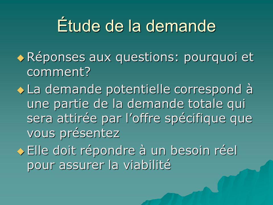 Étude de la demande  Réponses aux questions: pourquoi et comment?  La demande potentielle correspond à une partie de la demande totale qui sera atti