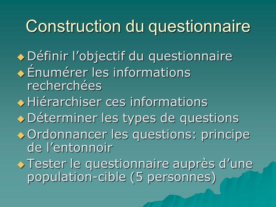 Construction du questionnaire  Définir l'objectif du questionnaire  Énumérer les informations recherchées  Hiérarchiser ces informations  Détermin