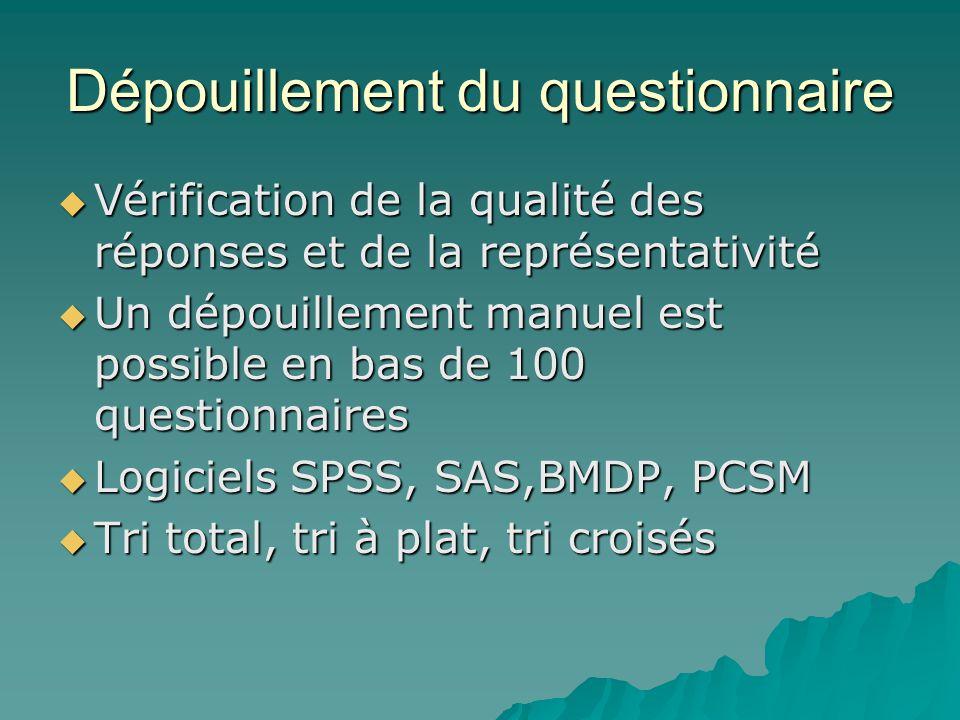 Dépouillement du questionnaire  Vérification de la qualité des réponses et de la représentativité  Un dépouillement manuel est possible en bas de 10