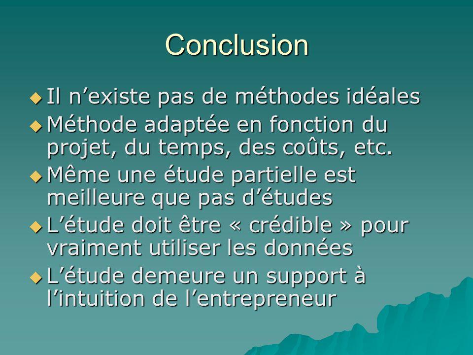 Conclusion  Il n'existe pas de méthodes idéales  Méthode adaptée en fonction du projet, du temps, des coûts, etc.  Même une étude partielle est mei