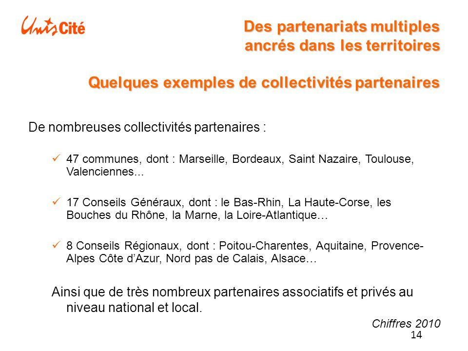 14 Des partenariats multiples ancrés dans les territoires Quelques exemples de collectivités partenaires De nombreuses collectivités partenaires : 47 communes, dont : Marseille, Bordeaux, Saint Nazaire, Toulouse, Valenciennes...