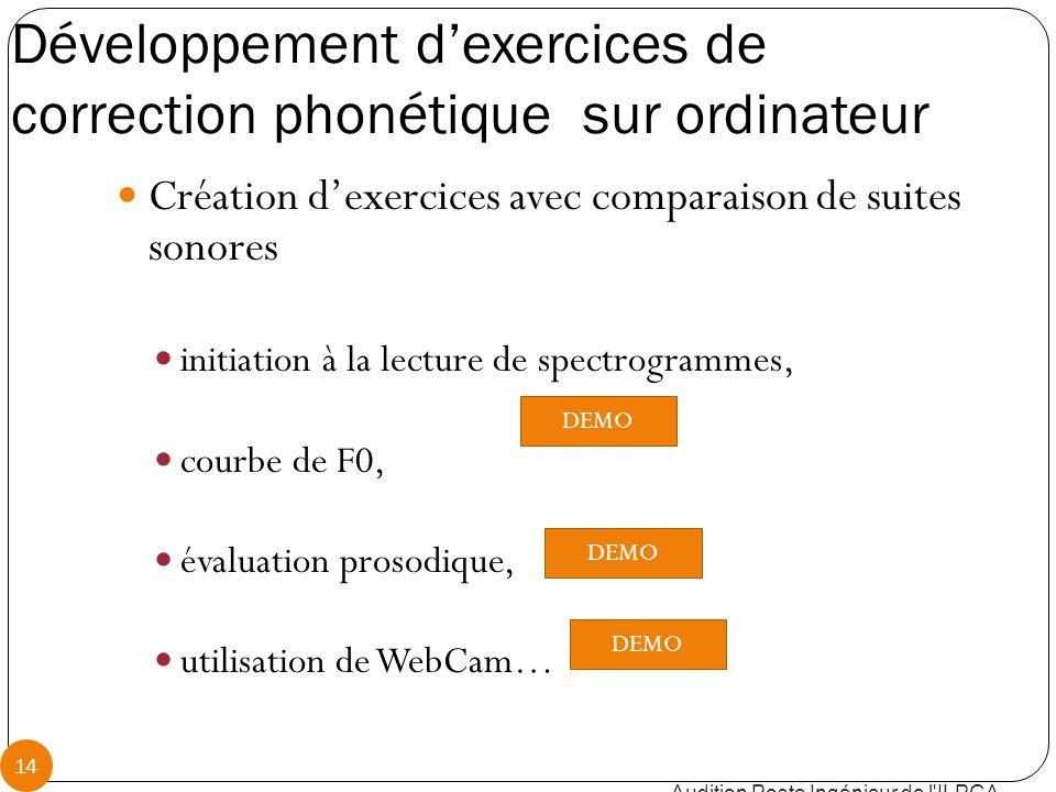 Développement d'exercices de correction phonétique sur ordinateur Audition Poste Ingénieur de l ILPGA 14 Création d'exercices avec comparaison de suites sonores initiation à la lecture de spectrogrammes, courbe de F0, évaluation prosodique, utilisation de WebCam… DEMO