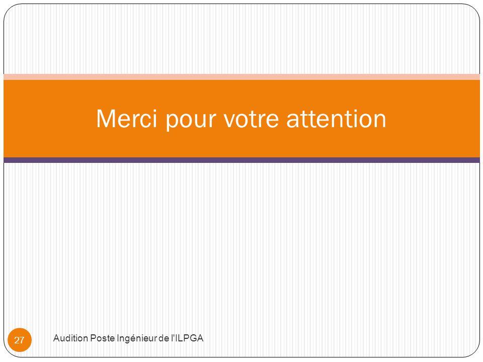 Merci pour votre attention Audition Poste Ingénieur de l ILPGA 27