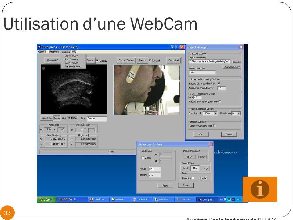 Utilisation d'une WebCam Audition Poste Ingénieur de l ILPGA 33