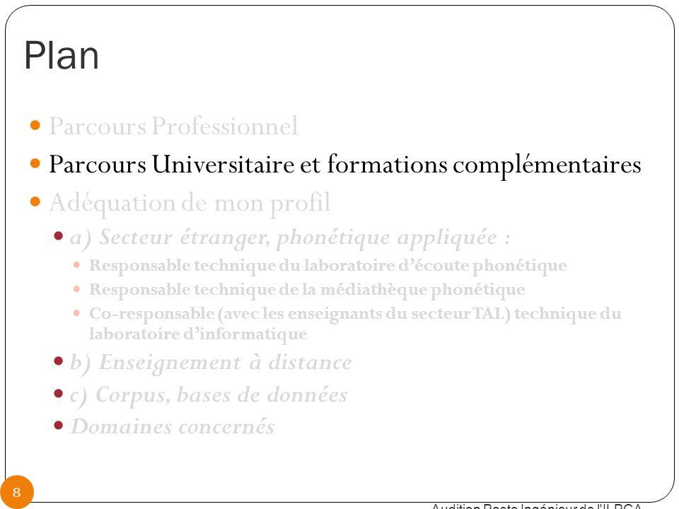 Parcours universitaire Doctorat en phonétique, LPP, Paris (2004), « Etude aérodynamique, fibroscopique, acoustique et perceptive des voyelles nasales du français » Audition Poste Ingénieur de l ILPGA 9