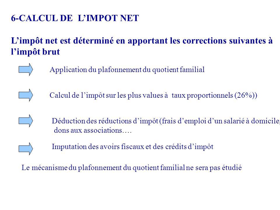 6-CALCUL DE L'IMPOT NET L'impôt net est déterminé en apportant les corrections suivantes à l'impôt brut Application du plafonnement du quotient famili