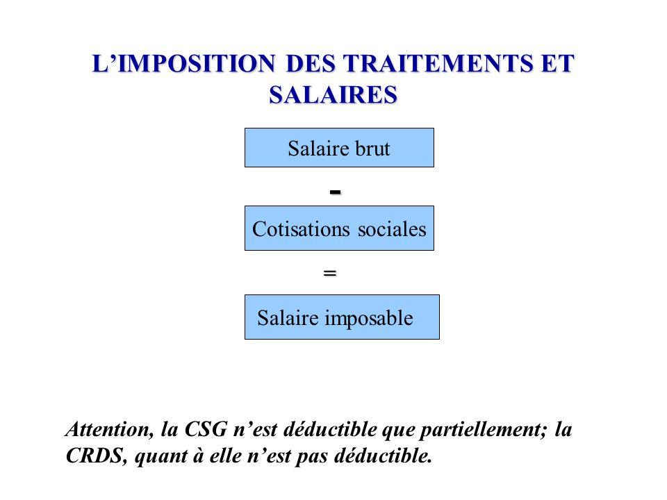 L'IMPOSITION DES TRAITEMENTS ET SALAIRES Attention, la CSG n'est déductible que partiellement; la CRDS, quant à elle n'est pas déductible. Salaire bru