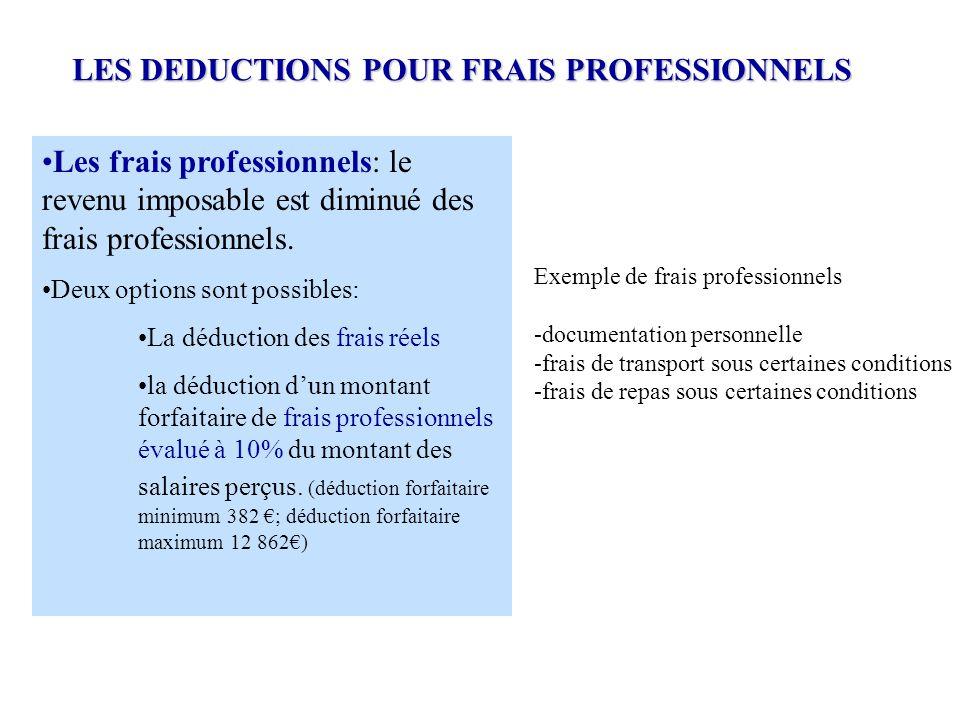 Les frais professionnels: le revenu imposable est diminué des frais professionnels. Deux options sont possibles: La déduction des frais réels la déduc