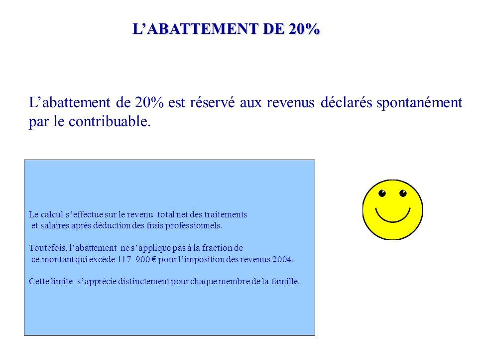 L'ABATTEMENT DE 20% L'abattement de 20% est réservé aux revenus déclarés spontanément par le contribuable. Le calcul s'effectue sur le revenu total ne