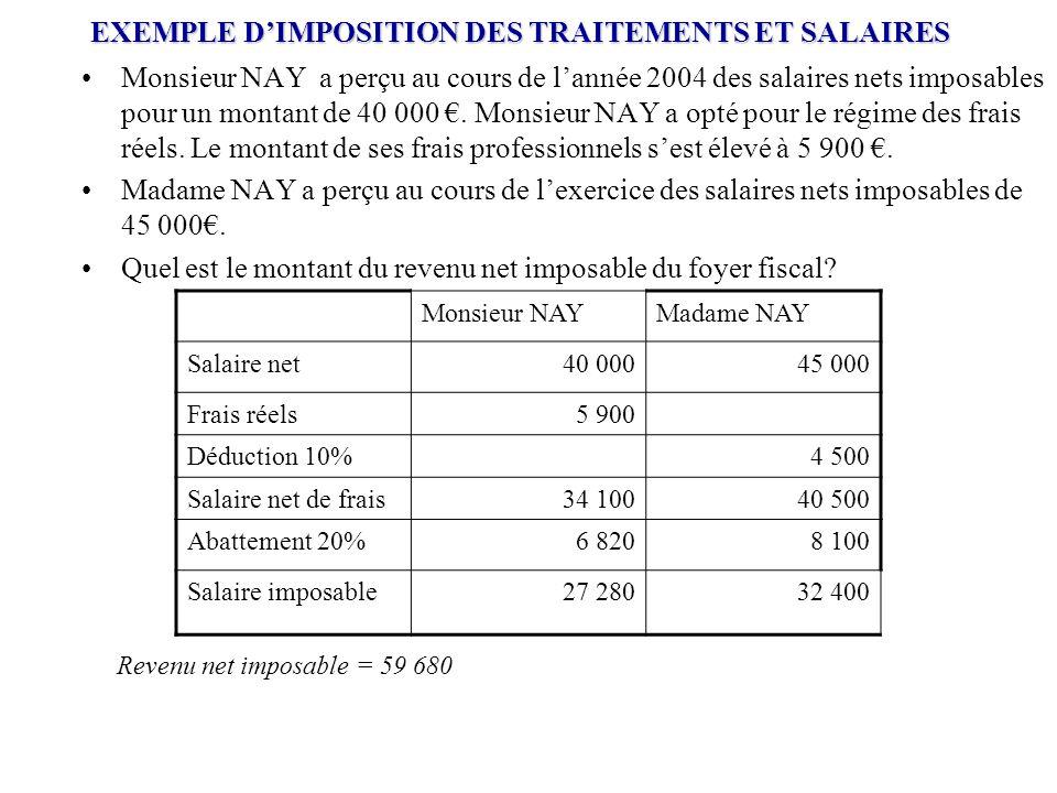EXEMPLE D'IMPOSITION DES TRAITEMENTS ET SALAIRES Monsieur NAY a perçu au cours de l'année 2004 des salaires nets imposables pour un montant de 40 000