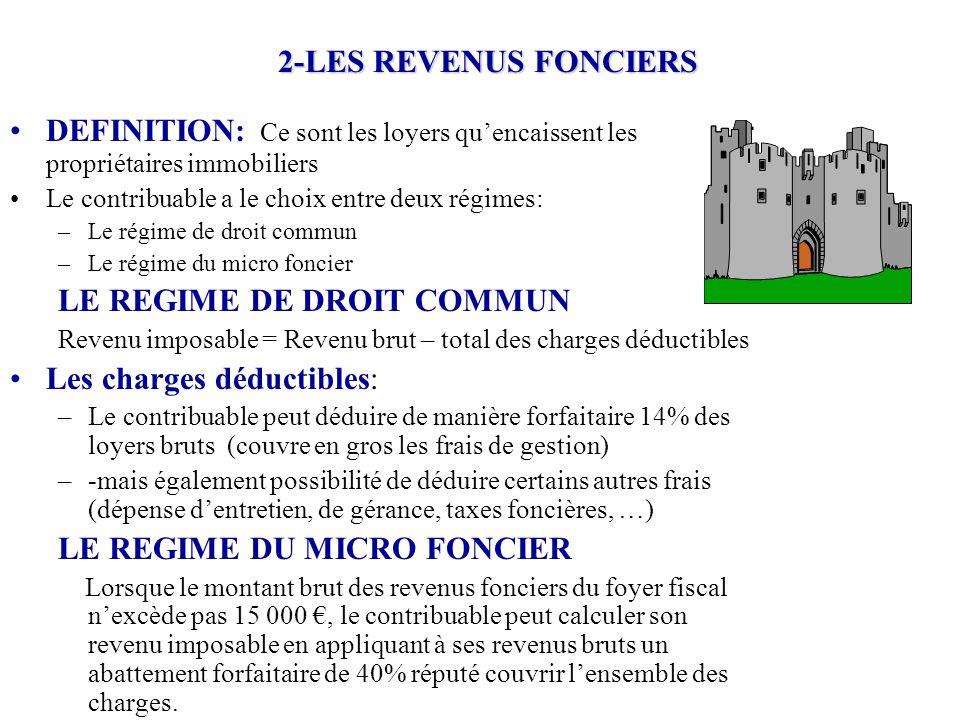 2-LES REVENUS FONCIERS DEFINITION: Ce sont les loyers qu'encaissent les propriétaires immobiliers Le contribuable a le choix entre deux régimes: –Le r