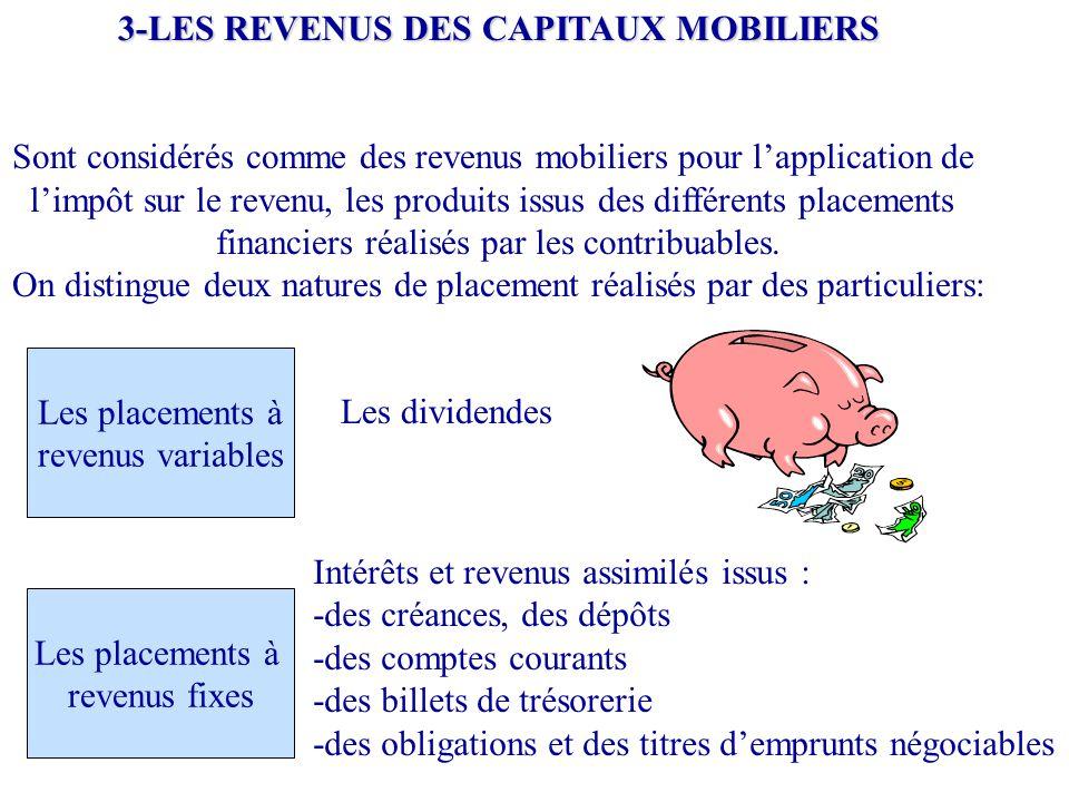 3-LES REVENUS DES CAPITAUX MOBILIERS Sont considérés comme des revenus mobiliers pour l'application de l'impôt sur le revenu, les produits issus des d