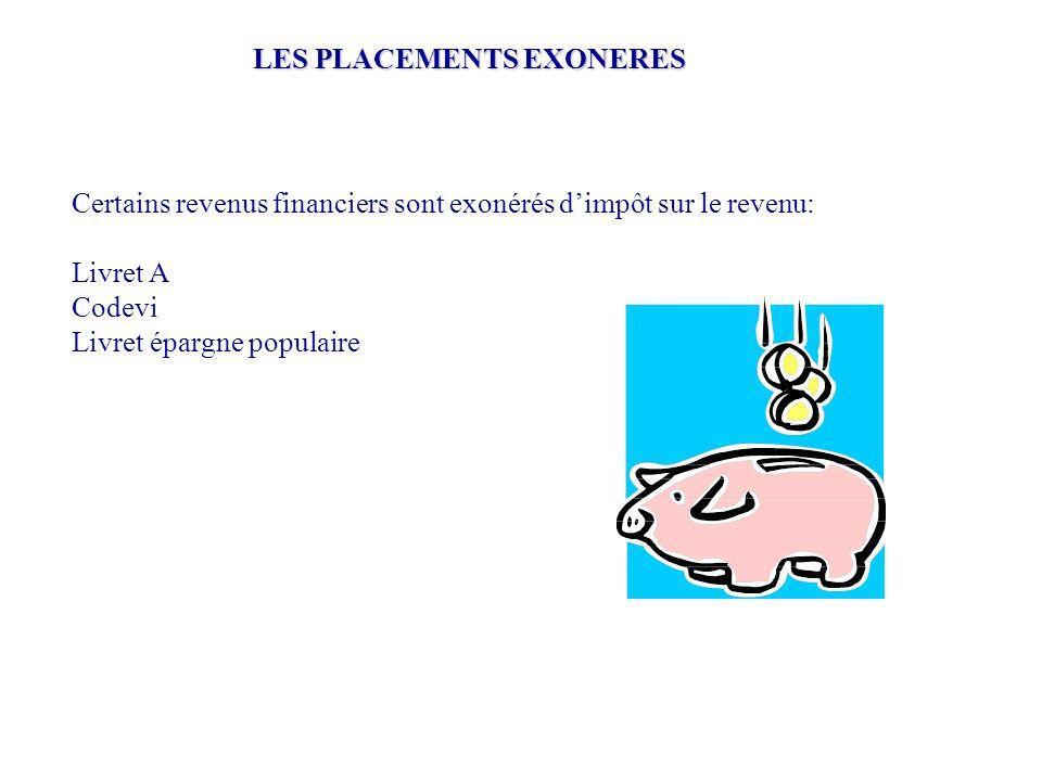 Certains revenus financiers sont exonérés d'impôt sur le revenu: Livret A Codevi Livret épargne populaire LES PLACEMENTS EXONERES