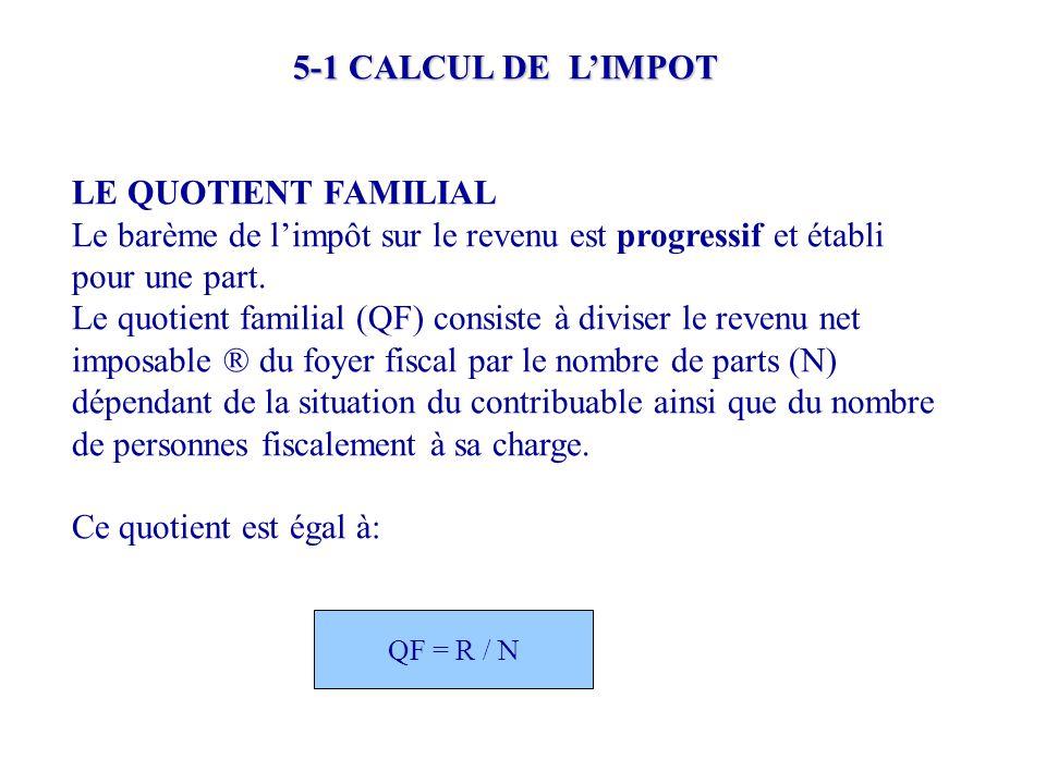5-1 CALCUL DE L'IMPOT LE QUOTIENT FAMILIAL Le barème de l'impôt sur le revenu est progressif et établi pour une part. Le quotient familial (QF) consis