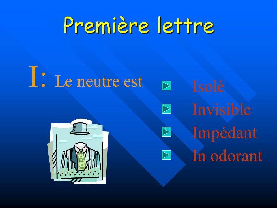 Sommaire Première lettre Deuxième lettre Schéma de principe Premier défaut Second défaut Conclusions