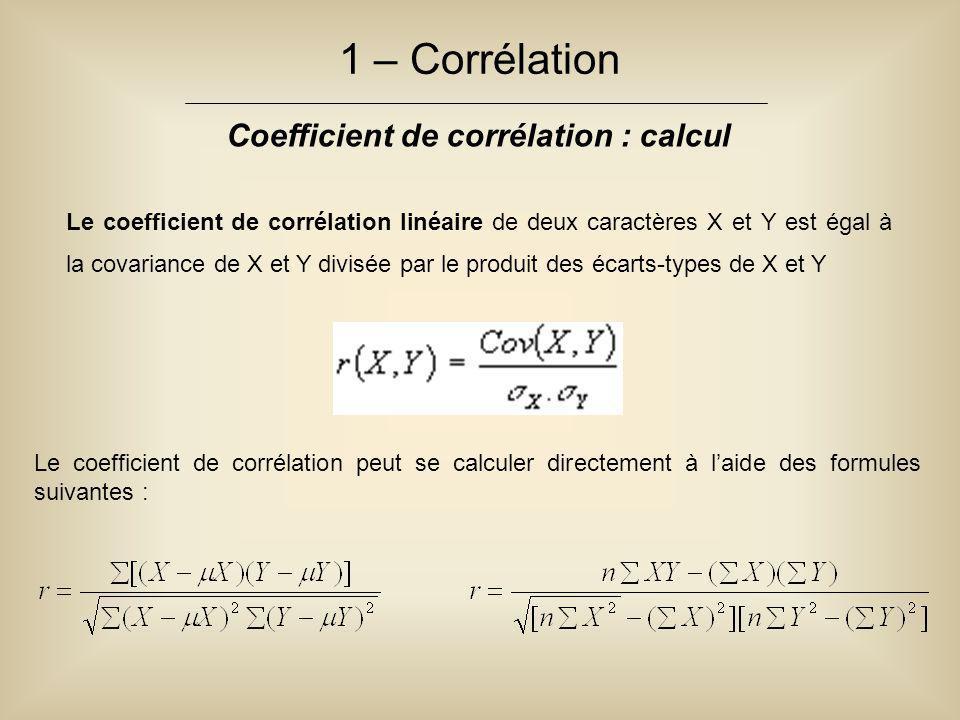 1 – Corrélation Coefficient de corrélation : calcul Le coefficient de corrélation linéaire de deux caractères X et Y est égal à la covariance de X et