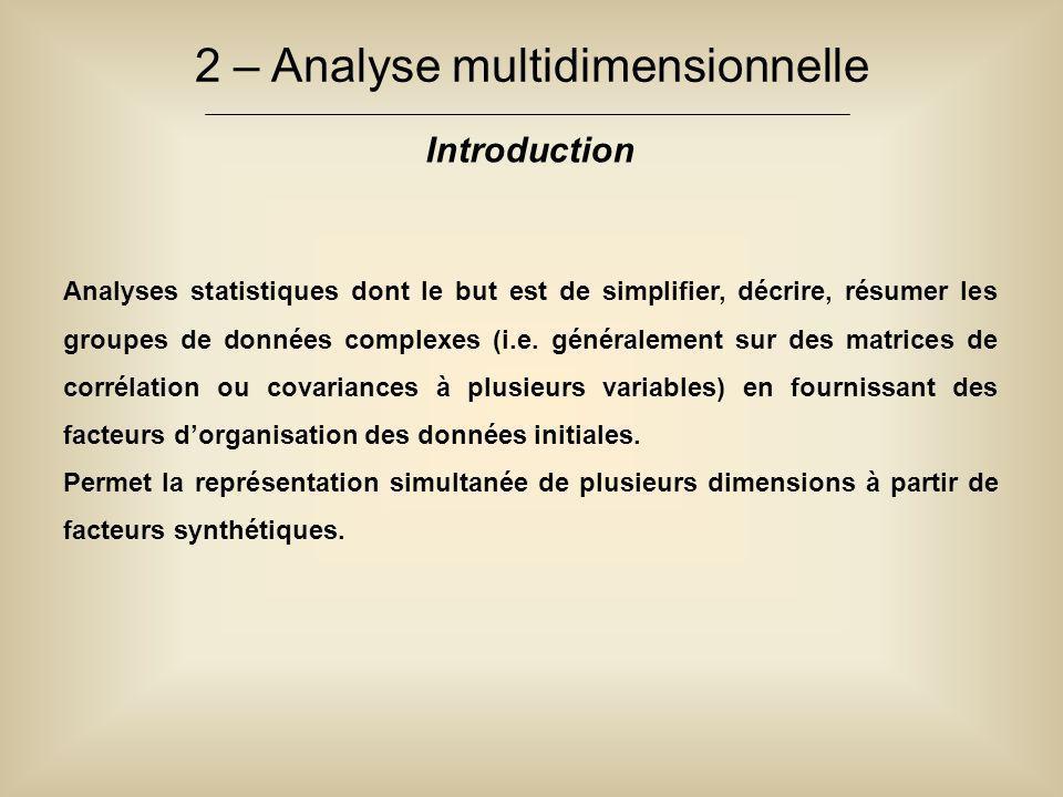 2 – Analyse multidimensionnelle Introduction Analyses statistiques dont le but est de simplifier, décrire, résumer les groupes de données complexes (i