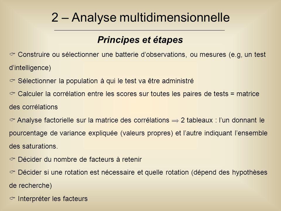 2 – Analyse multidimensionnelle Principes et étapes  Construire ou sélectionner une batterie d'observations, ou mesures (e.g, un test d'intelligence)