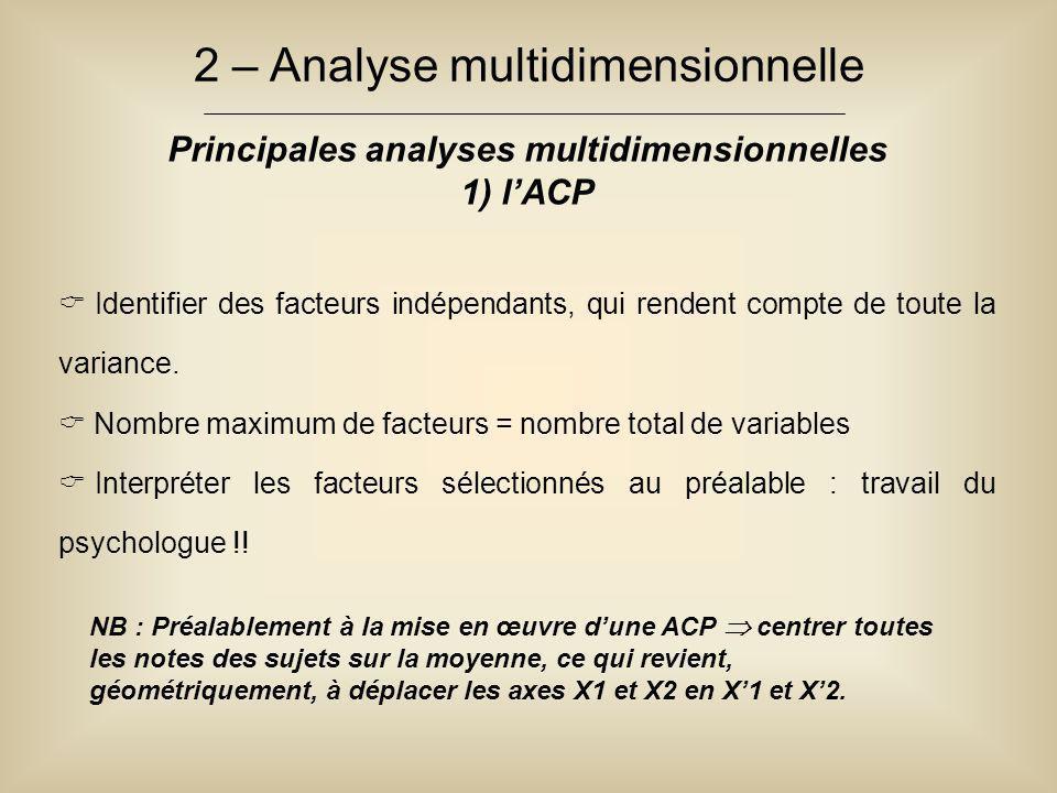 2 – Analyse multidimensionnelle Principales analyses multidimensionnelles 1) l'ACP  Identifier des facteurs indépendants, qui rendent compte de toute