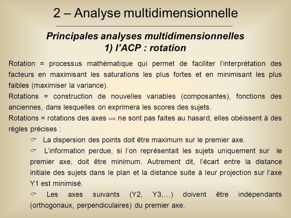 2 – Analyse multidimensionnelle Principales analyses multidimensionnelles 1) l'ACP : rotation Rotation = processus mathématique qui permet de facilite
