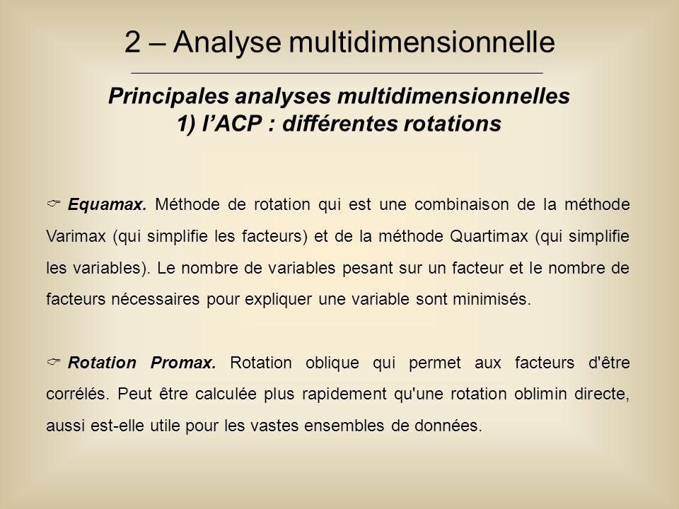 2 – Analyse multidimensionnelle Principales analyses multidimensionnelles 1) l'ACP : différentes rotations  Equamax. Méthode de rotation qui est une