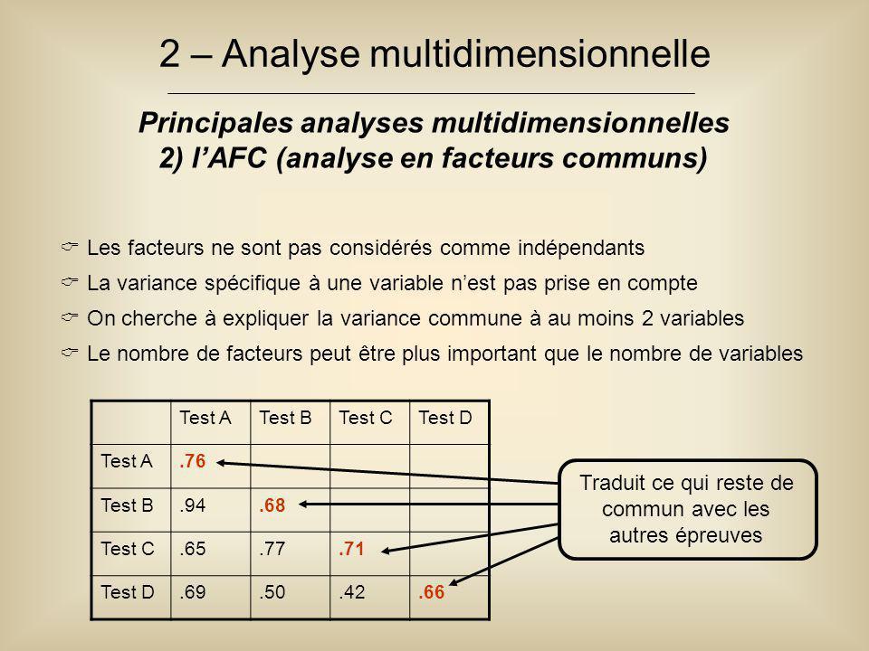 2 – Analyse multidimensionnelle Principales analyses multidimensionnelles 2) l'AFC (analyse en facteurs communs)  Les facteurs ne sont pas considérés